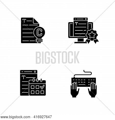 Seo Text Black Glyph Icons Set On White Space. Original Engaging Content. Meeting Deadlines. Keyboar