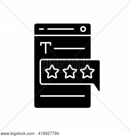 Recognized By Clients Black Glyph Icon. User Satisfaction. Feedback On Article. Customer Experience.