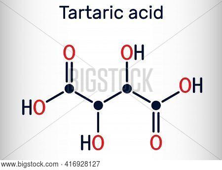 Tartaric Acid Molecule. It Is Antioxidant E334, Occurs In Grapes, Bananas, Tamarinds, Citrus. Skelet