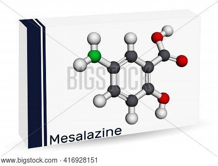Mesalazine, Mesalamine, 5-aminosalicylic Acid Molecule. It Is Non-steroidal Anti-inflammatory Drug,