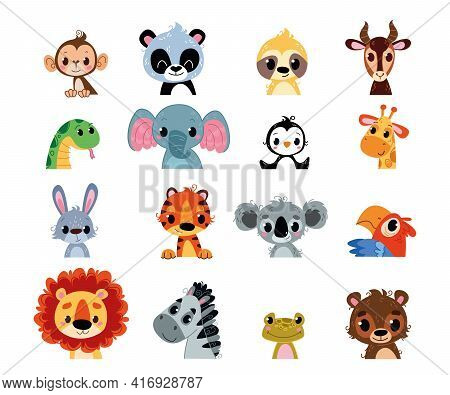 Vector Set Of Cute Little Animals. African Baby Beasts Avatar. Kids Characters For Room, Print, Clot