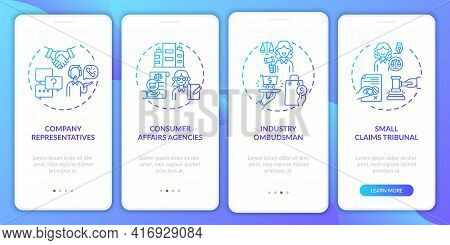 Customer Protect Services Onboarding Mobile App Page Screen With Concepts. Small Claims Tribunal Wal