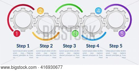 Colorful Gears Vector Infographic Template. Empty Circles Presentation Design Elements With Text Spa