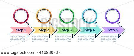 Colored Circle Steps Vector Infographic Template. Arrows Presentation Design Elements With Text Spac