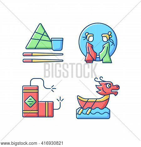 China National Holidays Rgb Color Icons Set. Chopsticks. Double Seventh Festival. Lighting Firecrack