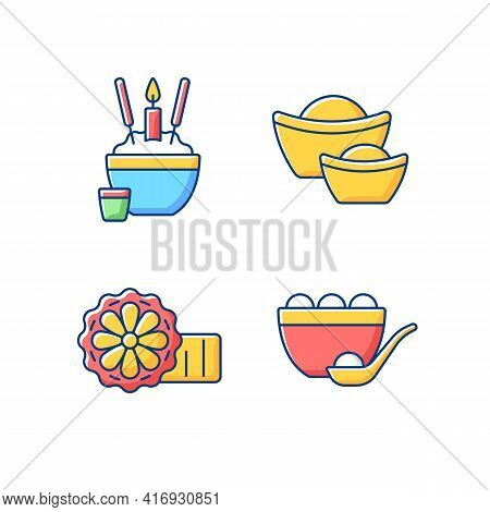China National Holidays Rgb Color Icons Set. Rice Bowl. Gold Ingots. Mooncakes. Moon Hare. Chinese F