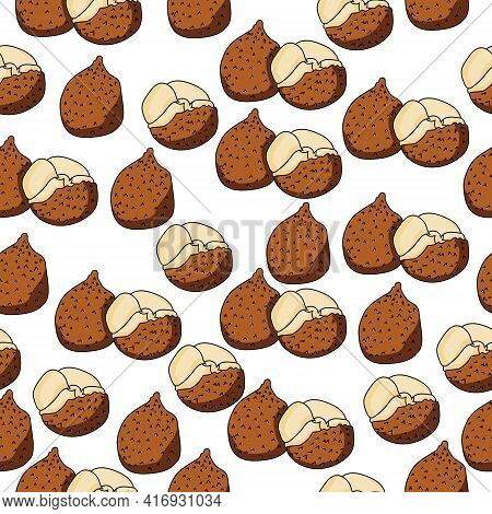 Ita Palm Fruit Seamless Pattern, Juicy Fruit Whole And Half On A White Background Vector Illustratio