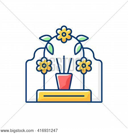 Tomb Sweeping Day Rgb Color Icon. Qingming Festival. Chinese Memorial Day. Pomegranate And Willow Br