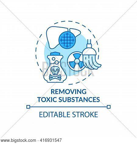 Removing Toxic Substances Concept Icon. Liver Function Idea Thin Line Illustration. Detoxication. Pr