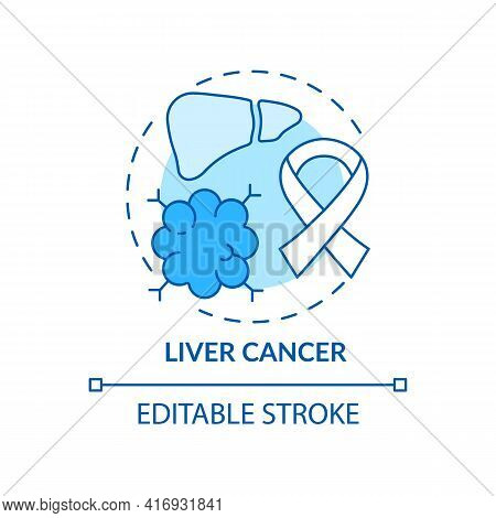 Liver Cancer Concept Icon. Liver Failure Outcome Idea Thin Line Illustration. Weakness And Exhaustio