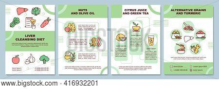 Liver Cleansing Diet Brochure Template. Nuts, Green Tea. Flyer, Booklet, Leaflet Print, Cover Design