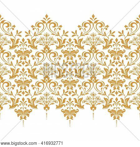 Wallpaper In The Style Of Baroque. Seamless Vector Background. White And Gold Floral Ornament. Graph