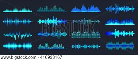 Blue Colorful Sound Waves Collection. Analog And Digital Audio Signal. Music Equalizer. Interference