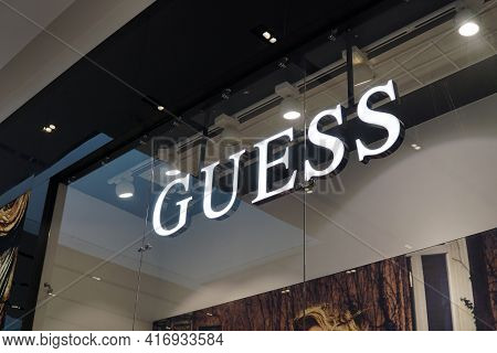 Moscow Russia - April 10 2021:the Logo Of The Famous Brand Guess Above The Entrance To The Fashion S