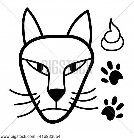Brazen Cat. Hand Drawn Vector Illustration Of Cat Face With Paw. Cat Isolated Objects On White Backg