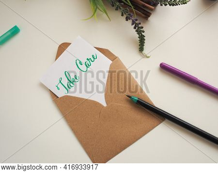 Personalized Note With Inscription Take Care In A Natural Color Envelope, Stay At Home, Health Care