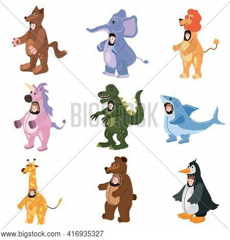 Set Actors In Animal Wolf, Unicorn, Bear, Elepfant, Lion, Shark, Giraffe, Penguin, Dinosaur Costume.