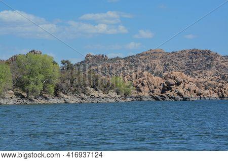 The Beautiful High Altitude Southern Shoreline Of Watson Lake In Prescott, Yavapai County, Arizona