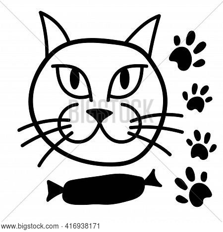 Satisfied Cat With Sausage. Hand Drawn Vector Illustration Of Cat Face With Fish. Isolated Objects O