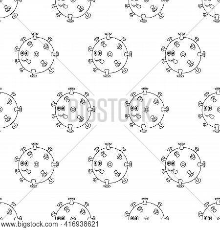 Covid 19 Virus Line Seamless Pattern. Cute Beautiful Cartoon Coronavirus Icon With Green Face.