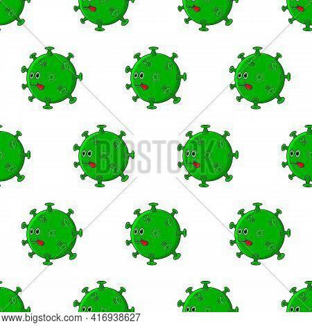 Covid 19 Virus Seamless Pattern. Cute Beautiful Cartoon Coronavirus Icon With Green Face.