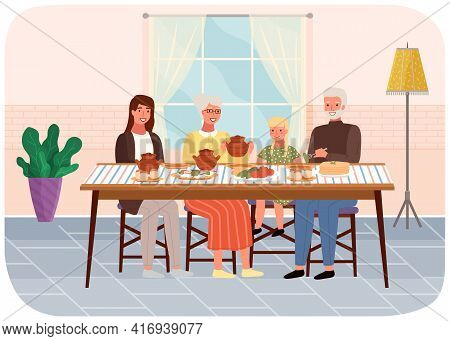 Family Members Eating Russian Food. Relatives Have Dinner With Borscht And Flapjack In Restaurant
