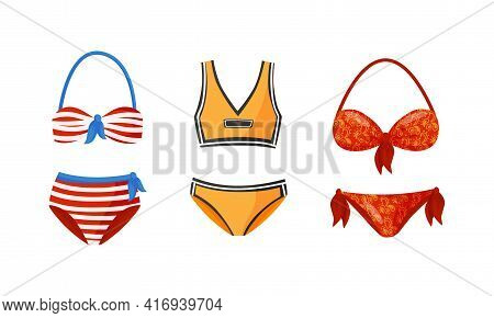 Stylish Swimsuit As Clothing For Sun Bathing And Water Sport Activity Vector Set