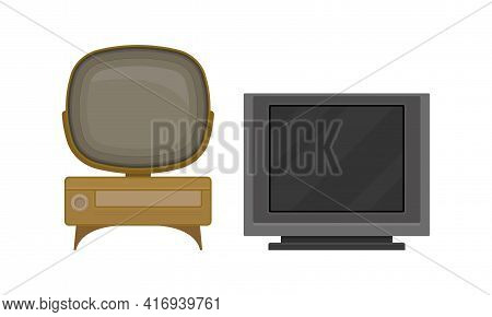 Retro Television Set Or Television Receiver With Display For Viewing And Hearing Television Broadcas