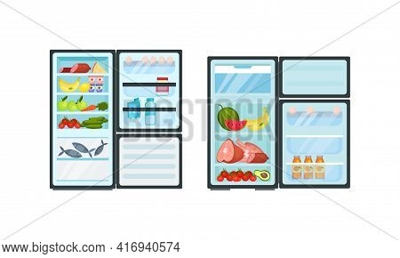 Open Refrigerator Or Fridge As Home Appliance For Food Storage With Foodstuff Inside Vector Set