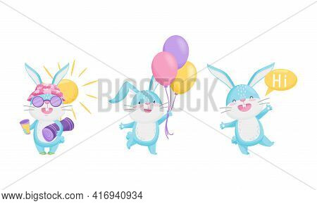 Cute Rabbit With Long Ears Greeting, Holding Bunch Of Balloons And Sun Bathing Vector Set