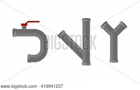 Traps As Shaped Pipe And Plumbing Fixture With Red Valve Vector Set