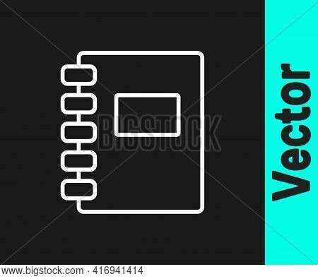White Line Notebook Icon Isolated On Black Background. Spiral Notepad Icon. School Notebook. Writing