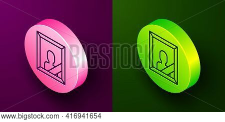 Isometric Line Mourning Photo Frame With Black Ribbon Icon Isolated On Purple And Green Background.