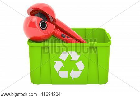 Recycling Trashcan With Hair Curler, Professional Automatic Steam Ceramic Curling Wand. 3d Rendering