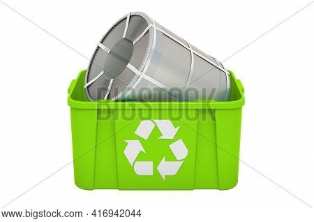 Recycling Trashcan With Roll Of Steel Sheet, Stainless Steel Coil. 3d Rendering Isolated On White Ba