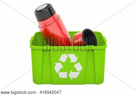Recycling Trashcan With Vacuum Flask, Thermos. 3d Rendering Isolated On White Background