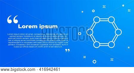 White Line Molecule Icon Isolated On Blue Background. Structure Of Molecules In Chemistry, Science T