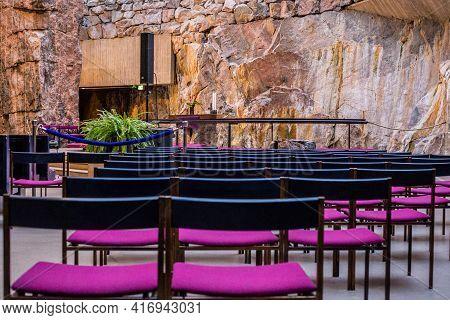 Helsinki, Finland - March 10, 2017: Interior Of The Temppeliaukio Church (rock Church)