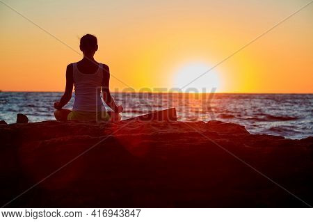Lady Meditating Enjoy Sunset. Virgin Nature And Fresh Air. Contemplation, Yoga Meditation, Stretch C