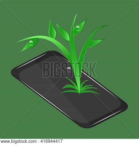 Digital Sustainability. Smartphone, Leaves, Green Background. Environmental Implications Of Technolo