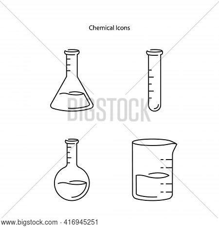 Chemical Icon Set Isolated On White Background. Chemical Icon Set Trendy And Modern Chemical Symbol