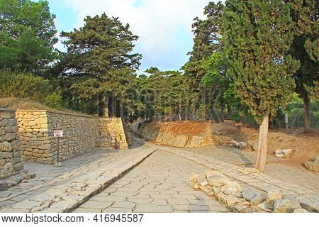 The Oldest Road In Europe Is The Royal Road Leaving The Palace Of Knossos On Crete In Greece Near He
