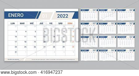 2022 Spanish Calendar Planner. Week Starts Monday. Vector. Calender Template With 12 Month. Table Sc