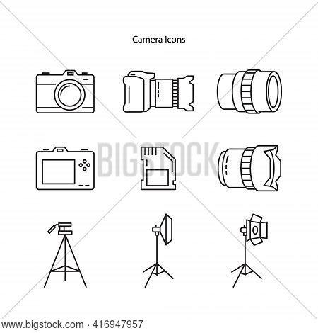Camera Icon Set Isolated Black On White Background, Camera Icon Vector Flat Modern, Camera Icon, Cam