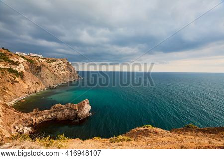 Virgin Nature. Seascape Or Mountain Landscape. Freedom. Cloudy Sky. Calming Ocean Water. Stunning Pa