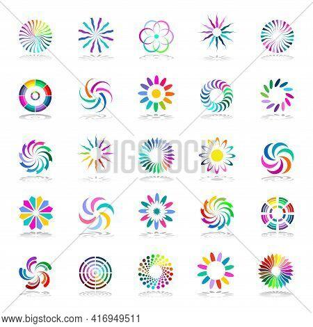 Design Elements Set  Abstract Circular Multicolour Icons. Vector Art.