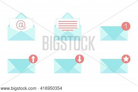 Envelopes Icons Set For Mail, Web And Applications. Incoming, Outgoing And Favorite Messages. Opened