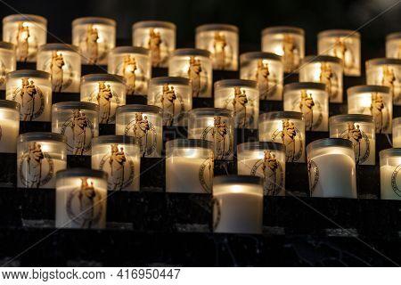 Paris - Circa May 2011: Cathedrale Notre Dame De Paris Mary Candles. Plans To Rebuild Notre Dame Cat