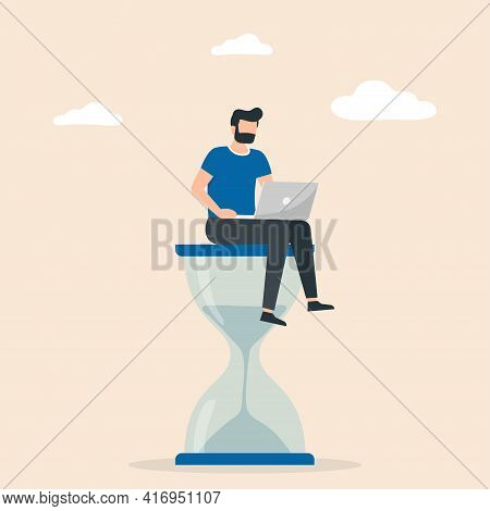 Man Sitting On An Hourglass And Working On Her Laptop. Time Management, Multitasking, Working Produc