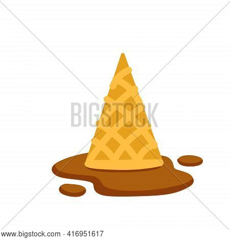 Melted Ice Cream In Cone. Dessert Fell To The Ground. Sweet Chocolate Puddle. Flat Cartoon Illustrat